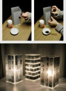 Lampe aus digitalisierten Negative
