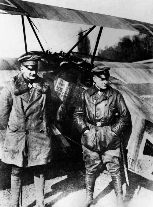 PICTURES OF YESTERYEAR -  PPL PHOTO AGENCY LTD  - COPYRIGHT RESERVED PHOTO CREDIT: PPL TEL: +44 (0)1243 555561  Email: ppl@mistral.co.uk  www.pplmedia.com ***Circa 1917 World war 1, Manfred von Richthofen (right) with his brother Lothar who served under him in JG 1, standing in front of a Fokker DR 1. Manfred Albrecht Freiherr von Richthofen (2 May 1892 ? 21 April 1918), also widely known as the Red Baron, was a German fighter pilot with the Imperial German Army Air Service (Luftstreitkräfte) during World War I. He is considered the top ace of that war, being officially credited with 80 air combat victories. Lothar-Siegfried Freiherr von Richthofen (27 September 1894 ? 4 July 1922) was a German First World War fighter ace credited with 40 victories. He was a younger brother of top-scoring ace Manfred von Richthofen (the Red Baron) and a distant cousin of Luftwaffe Field Marshal Wolfram von Richthofen.