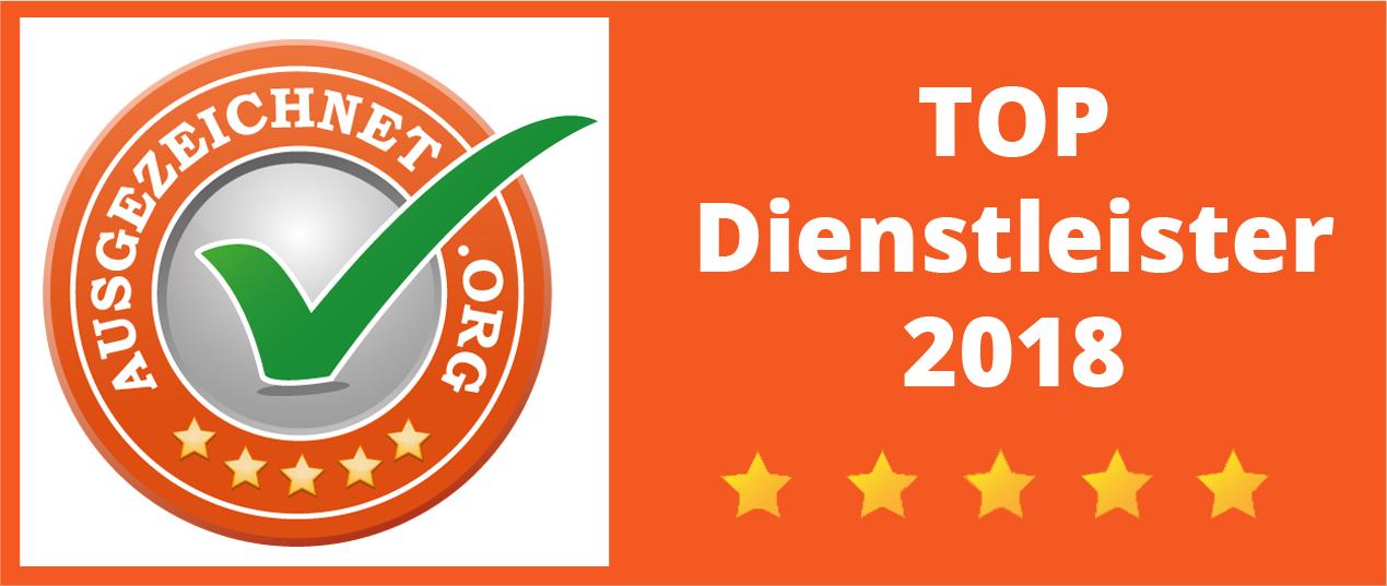 Auszeichnung von Ausgezeichnet.org: Top Dienstleister 2018